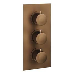 Etta Round Thermostatic Shower Valve in Bronze - 3 Outlet