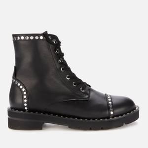Stuart Weitzman Women's Mila Lift Studs Suede Lace Up Boots - Black