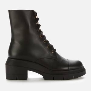 Stuart Weitzman Women's Nisha Leather Lace Up Boots - Black