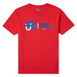 Sonic The Hedgehog Lets Roll  Men's T-Shirt - Red