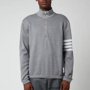 Thom Browne Men's Four-Bar Stripe Funnel Zip Neck Sweatshirt - Medium Grey