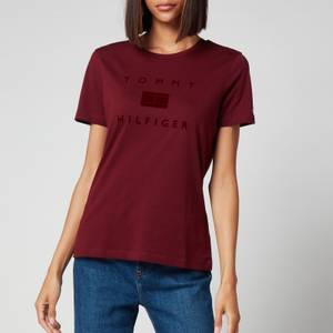 Tommy Hilfiger Women's Organic Cotton Regular T-Shirt - Deep Rouge
