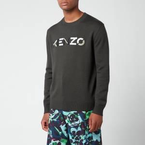 KENZO Men's Multi Colour Logo Classic Jumper - Stone Grey