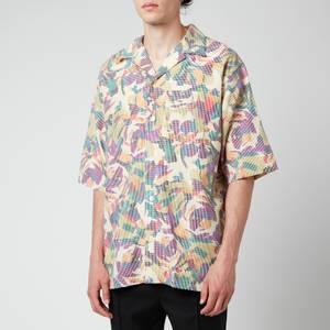 KENZO Men's Floral Seersucker Short Sleeve Shirt - Khaki