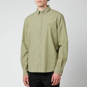KENZO Men's Tiger Crest Poplin Button Down Shirt - Lime Green