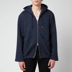 KENZO Men's Pin Tuck Full-Zip Hoodie - Blue Black