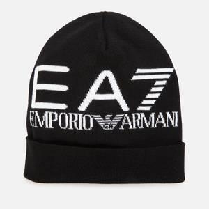 EA7 Men's Oversize Logo Beanie - Black