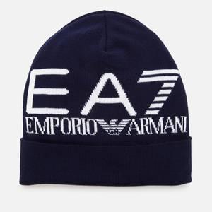 EA7 Men's Oversize Logo Beanie - Navy