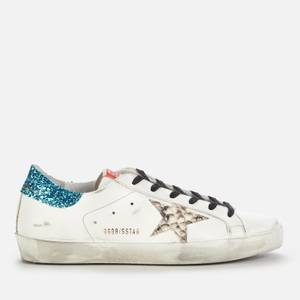 Golden Goose Deluxe Brand Women's Superstar Leather Trainers - White/Silver/Light Blue