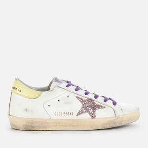 Golden Goose Deluxe Brand Women's Superstar Leather Trainers - White/Pink/Yellow