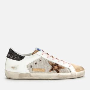 Golden Goose Deluxe Brand Women's Superstar Mesh/Leather Trainers - Silver/White/Capuccino