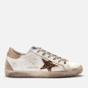 Golden Goose Deluxe Brand Women's Superstar Leather Trainers - White/Beige Brown Leopard