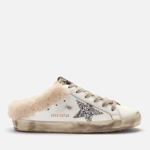 Golden Goose Deluxe Brand Women's Superstar Sabot Leather/Shearling Slip-On Trainers - White/Silver/Beige
