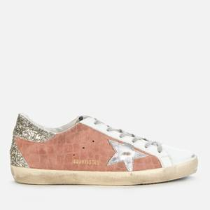 Golden Goose Deluxe Brand Women's Superstar Croc Printed Leather Trainers - Mauve/White/Silver