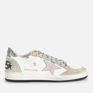 Golden Goose Deluxe Brand Women's Ball Star Leather Trainers - White/Lilac/Oil Green