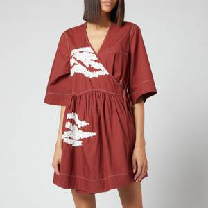 Ganni Women's Embellished Cotton Dress - Madder Brown