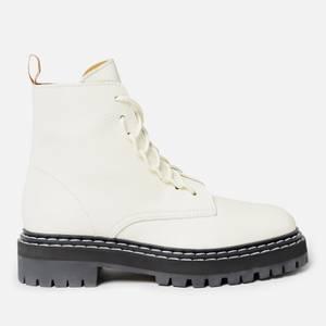 Proenza Schouler Women's Lug Sole Leather Combat Boots - Cream