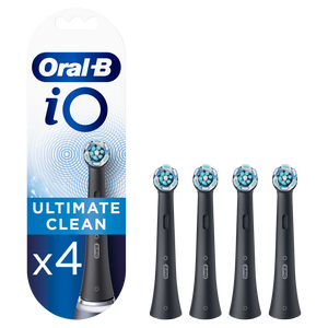 Oral-B iO Ultimate Clean Black Toothbrush Heads, Pack of 4 Counts, Mailbox Sized Pack