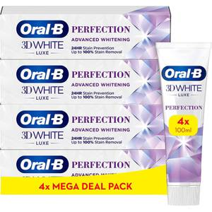 Oral-B 3DWhite Luxe Perfection Toothpaste 4x100ml, Shipped In Recycled Carton