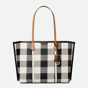 Tory Burch Women's Perry Gingham Compartment Tote Bag - Black/Ivory