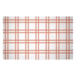 Peach Tartan Woven Rug
