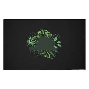 Stegosaurus Silhouette Foliage Woven Rug