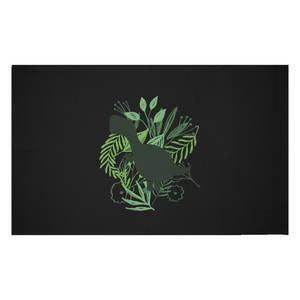 T-Rex Silhouette Foliage Woven Rug
