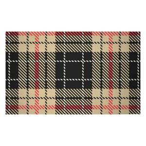 Black, Red & Yellow Tartan Woven Rug