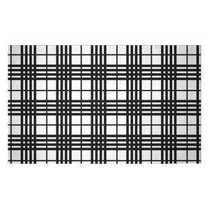 Black And White Tartan Woven Rug