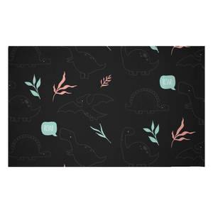 Pastel Dino Pattern Woven Rug