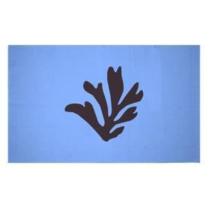 Black Leaf Woven Rug