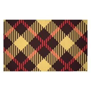 Red, Yellow & Black Diamond Tartan Woven Rug