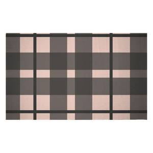 Tartan Black And Pink Woven Rug
