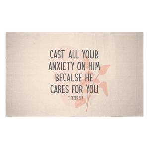 Cast All Your Anxiety On Him Because He Cares For You Woven Rug