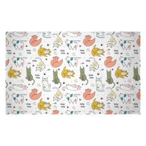 Colourful Cat Pattern Woven Rug