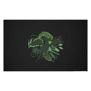 Pterodactyl Silhouette Foliage Woven Rug
