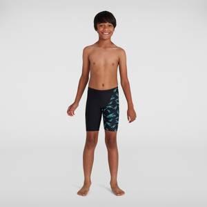 Jungen Boom Logo Allover V Cut Schwimmhose in Schwarz