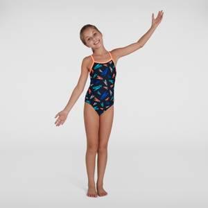 Girl's Boom Logo Thinstrap Muscleback Swimsuit Black