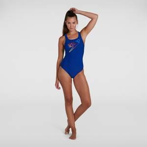 Damen Retro Logo Medalist Badeanzug in Blau