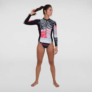Women's Placement Long Sleeve Wrap Back Swimsuit Black