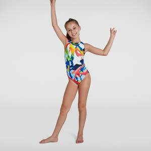 Girl's Digital Placement Pulseback Swimsuit White