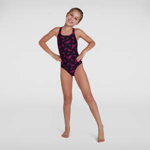 Girl's Boom Logo Medalist Swimsuit Black