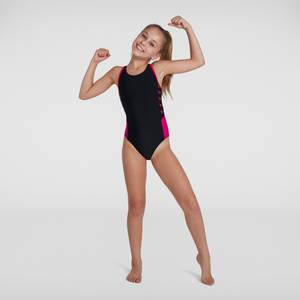 Mädchen Boom Logo Splice Muscleback Badeanzug in Schwarz