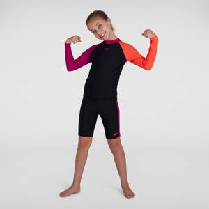 Haut à manches longues et short Fille Color-block Protection Noir