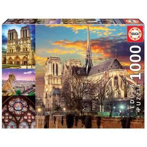 Notre Dame Collage Jigsaw Puzzle (1000 Pieces)