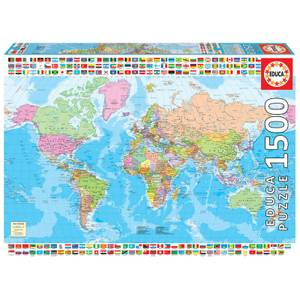 Map Of The World With Flags Jigsaw Puzzle (1500 pieces)