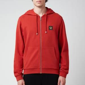 Belstaff Men's Patch Logo Zip-Through Hoodie - Red Ochre