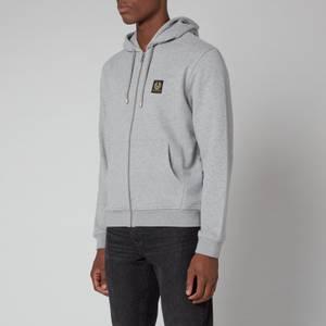 Belstaff Men's Patch Logo Zip-Through Hoodie - Grey Melange