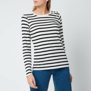 Kate Spade New York Women's Striped Button Shoulder T-Shirt - Cream