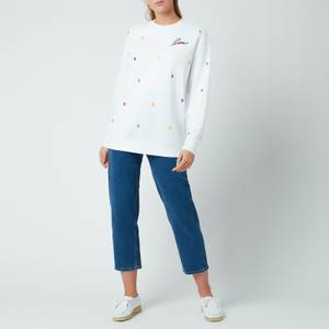 Kate Spade New York Women's Embroidered Hearts Sweatshirt - Fresh White